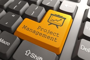 Orange Project Management Button on Computer Keyboard. Business Concept.